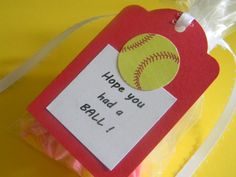 SOFTBALL favor bag with tag; birthday favor, treat bag, party favor, sports party by PagesbyNat on Etsy