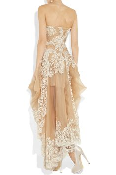 Alexander McQueen | Lace and organza strapless gown | NET-A-PORTER.COM ~ would make a beautiful wedding gown because the back looks so pretty ~ the dress needs a more delicate shoe than this clunker ~