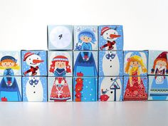 Advent calendar for children - Konzeptfahrzeuge Advent Calendar House, Calendar Home, Baby Album, Handmade Items, Handmade Gifts, Etsy, Children, Crafts, Cubes