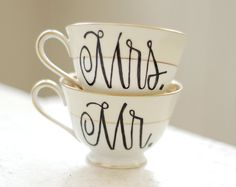 mr. and mrs. gold vintage porcelain tea cup - black calligraphy font - set of two (2) ready to ship