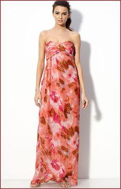 long dress outfits | Nicole Miller Strapless Casual Chiffon Long Dress