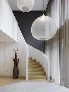 Lampen fr hohe decken staircase contemporary with transparente ...