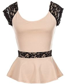 Espresso Break Top | Embroidered Lace Peplum Juniors Tops | Rickety Rack