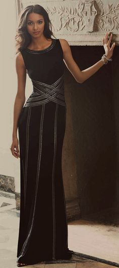 Black evening dress with silver metallic detail (Tadashi Shoji)