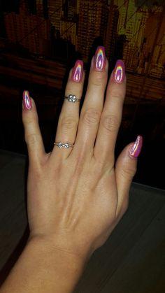 Bright pink holo ballerina coffin nail art