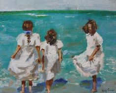 Three Sisters-young girls at the shore  painting by artist Kay Crain