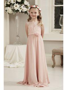 Long Pink Lace and Chiffon Junior Bridesmaid Dresses 1807001
