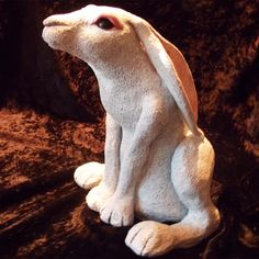 Rabbit made from terracotta clay, bisque fired and finished in Duncan Sandstone.
