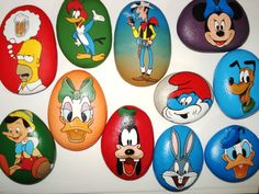Decorative Rocks : Hand painted Stones Cartoon by Lefteris Kanetis. Cartoon Painting, 3d Painting, Pebble Painting, Pebble Art, Stone Painting, Painted Rocks Craft, Hand Painted Rocks, Painted Stones, Rock Painting Ideas Easy