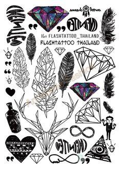 A6080 201 Большой Черный Taty tatuagem Боди Арт Временные Татуировки Наклейки Перо Радуга Алмазный Блеск Тату Стикер купить на AliExpress