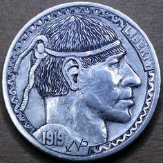 NARIMANTAS PALSIS HOBO NICKEL - 1919 BUFFALO PROFILE Hobo Nickel, Coin Art, Art Forms, Sculpture Art, Buffalo, Cactus, Coins, Carving, Profile