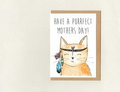 HaVE a PURRFECT MOTHERS DAY  . greeting card . boho cat . mothers day birthday thank you . cat lady . customisable . australia