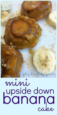 Mini Upside Down Banana Cakes - A clash between banana bread and pineapple upside down cake. Modern Twist Recipe.