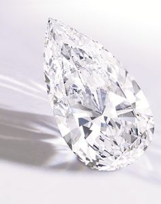Lot 387. Property of a Private Collector. An Exceptional Pear-Shaped Diamond weighing 74.79 carats, D Colour, VVS1 clarity, potentially internally flawless, type IIa. Sold for: US$14,165,000 (estimate: US$9 million-$12 million). Courtesy of Sotheby's.