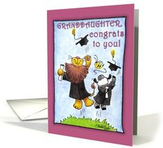 Graduation For Granddaughter-Lion and Lamb-Hats Off card