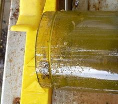 How to cut glass with a tile saw: Picture of The initial cut...