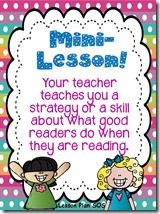 This is an awesome blog for mini-lesson ideas for reading workshops. Mini-lessons are important components of reading workshops because they model the skills teachers want their students to acquire and practice.