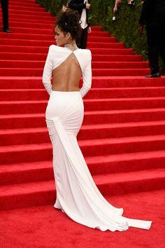 Rihanna Open back dress Met ba;; 2014