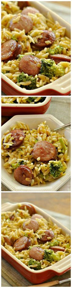 Used chicken and apple sausage; whole carton of fresh spinach, 2 garlic cloves, arborio rice cooked in broth; onion and yellow pepper; sun dried tomatoes; fresh thyme. So very delicious! Menu Chinois, Orzo Recipes, Risoni Recipes, Kalbasa Recipes, Cooking Recipes, Sausage And Rice Casserole, Sausage Rice, Sausage Meals, Smoked Sausage Pasta Recipes