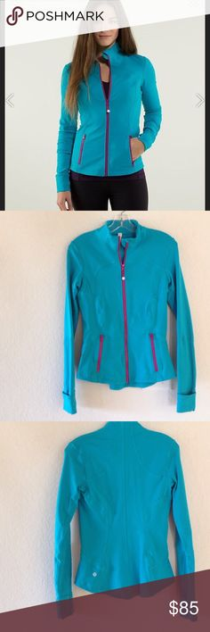 Lululemon Surge Forme Jacket Excellent condition. Has cuffins and thumbholes. Very soft. I love the contrasting colors. NO TRADES/modeling. Plz use offer button. Thx! 😊 lululemon athletica Jackets & Coats