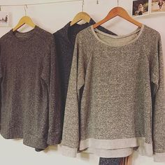 today's adventures in greyscale sewing! I might have a problem.  patterns (L-R): @seamworkmag #paxsonsweater / @sewhouse #toastersweater1 / @grainlinestudio #lindensweatshirt.  fabrics (L-R): organic cotton hemp knit blend from @sewtospeak (amazing!!!!!) / same as first / sweater knit tri-blend from #imaginegnatsshop.  #seamworkmakes #sewhouseseven #grainlinestudio #toastersweaters #sewingwithknits #isew