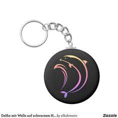 Delfin mit Welle auf schwarzem Hintergrund Schlüsselanhänger Personalized Items, Dolphins, Welcome Home, Black Backgrounds