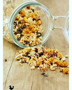 Granola aux mûres blanches Snack Recipes, Snacks, Granola, Cereal, Vegetables, Breakfast, Food, Fitness, Snacks Ideas