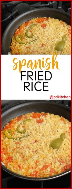 Spanish Fried Rice - This recipe combines the flavor and ingredients of Spanish rice with the cooking method of fried rice. Tomatoes, chili powder, and a hint of saffron make this a tasty dish that can be served alongside a variety of entrees. | CDKitchen.com