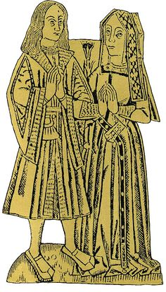 This engraving is circa 1490, showing the women's Gable Headdress which would be popular in the Early Tudor period.