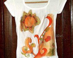 Pintar a mano camisetas con lagarto. Único pintado a mano