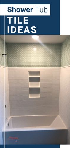 This beautiful white subway tile with green tile accents is perfect for your new home or bathroom remodel project. This great shower tub combination was designed and built by Nordaas Homes. Green Subway Tile, White Subway Tile Bathroom, Subway Tile Showers, Modern Farmhouse Bathroom, Classic Bathroom, Tub Shower Combo, Shower Tub, Cabin Bathrooms, Upstairs Bathrooms