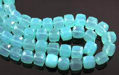 Aqua Blue Chalcedony, Medium Faceted Cubes, AAA Quality Gemstones 7mm, 1 Strand (AQCHLC/7CUBE),    Stunning Aqua Chalcedony has a vitreous luster and