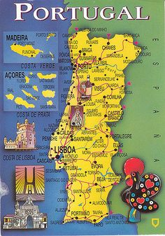 https://flic.kr/p/5eoUbM | Portugal. PT-55670 | This map card came from Portugal. I wonder if that rooster on the right corner of this card is some kind of symbol of Portugal? Thank you, Luso.