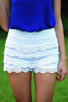 It's So Lacy Shorts: Crisp White