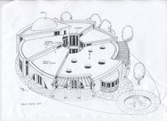 Architectural Drawing Design Drawing of circle building Form Architecture, Organic Architecture, Architecture Tattoo, Facade Design, House Design, Round Building, Green Building, Circle House, Circular Buildings