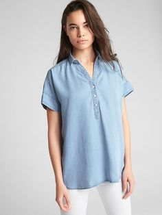 Short Sleeve Popover Shirt in TENCEL™