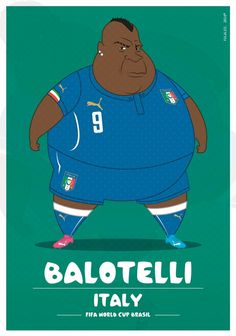 Colombia-based illustrator Fulvio Obregon has created a series of illustrations, in which he imagined World Cup soccer players as. Fat Football Player, Best Football Players, Football Art, World Football, Soccer Players, Neymar, Messi, Cristiano Ronaldo, Alex Solis