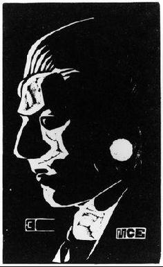 M.C. Escher -   Self-Portrait 1917 Linoleum cut