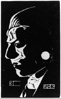 M.C. Escher -   Self-Portrait 1917 Linoleum cut