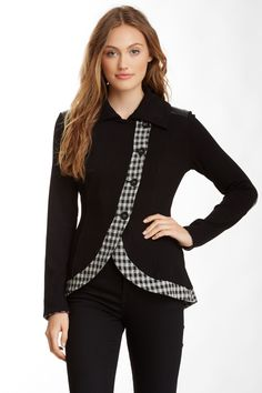 f5f2b32ea2f16 twenty Leather Trim Plaid Collared Jacket by twenty on  HauteLook Tailleur,  Idées De Mode