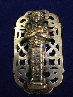 Large Art Deco Egyptian Revival, pharaoh silver plated brooch on ebay shop Jewelspast1 - www.jewelspast.com