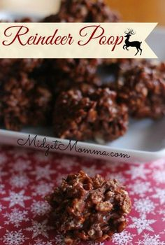 Reindeer Poop is crunchy little balls filled with all kinds of tasty and sugary. No baking required, it just takes a few minutes on the stovetop and your poop is ready to eat. Made with rice krispies, marshmallows, chocolate and caramels. Holiday Baking, Christmas Desserts, Holiday Treats, Holiday Recipes, Christmas Recipes, Easy To Make Christmas Treats, Christmas Chocolate, Christmas Goodies, Christmas Holiday