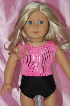 Swimsuit made for 18inch American Girl Doll Clothes Leotard Pink Black #dollclothes