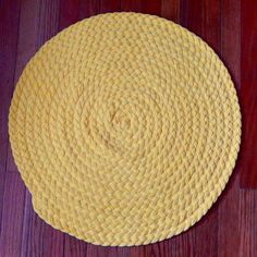 Braided Yellow Rug Made From Tshirt Fabric Great Size For Kitchen Bathroom Or Bedside