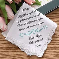 LOVE this Personalized Wedding Handkerchief - it comes in 6 different color options and 3 different verses or you can write your own - its the perfect wedding gift for the mother of the bride or groom! Unique Wedding Gifts, Gifts For Wedding Party, Personalized Wedding Gifts, Unique Weddings, Wedding Favors, Wedding Invitations, Party Gifts, Invitation Cards, Invitations Online