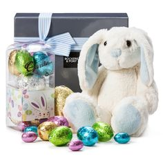 Easter Bunny | Easter Gifts | Easter Hampers - Bockers and Pony  Give your little honey bunny a hop, boing and spring in their step this Easter. The most cuddly bunny is teamed with Chocolatier's easter egg assortment. Hippity Hoppy Easter every bunny.