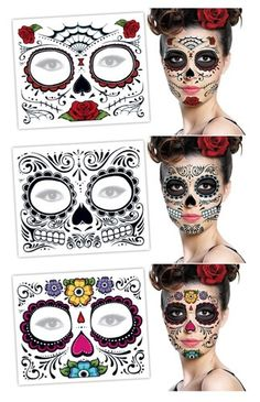 Day of The Dead Sugar Skull Face Tattoo Halloween Costume Mask Makeup Prop Lot 3 | eBay