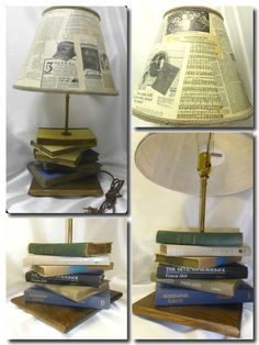 Stacked book table lamp by pineneckprimitives on etsy 10000 old vintage books stacked up with a lamp rod and a shade turns it into a lamp decoupaged shade from antique magazine ephemera advertisements aloadofball Image collections