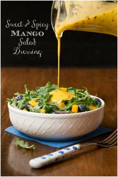 So delicious, super easy and this dressing is the anecdote for boring salads and it's fabulous drizzled over pan-seared or grilled salmon, shrimp or chicken! via salat dressing vinaigrette Sweet and Spicy Mango Salad Dressing Salad Dressing Recipes, Salad Recipes, Salad Dressings, Mango Vinaigrette Recipes, Avocado Recipes, Plat Vegan, Mango Salat, Cooking Recipes, Healthy Recipes