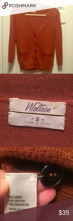 Madewell Wallace Rust cardigan Madewell Wallace Rust cardigan Metal buttons Pockets Zip detail Linen cotton EUC Madewell Sweaters Cardigans